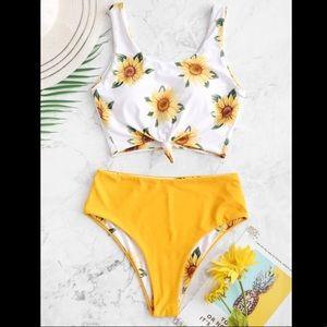 Sunflower knot reversible tankini swimsuit